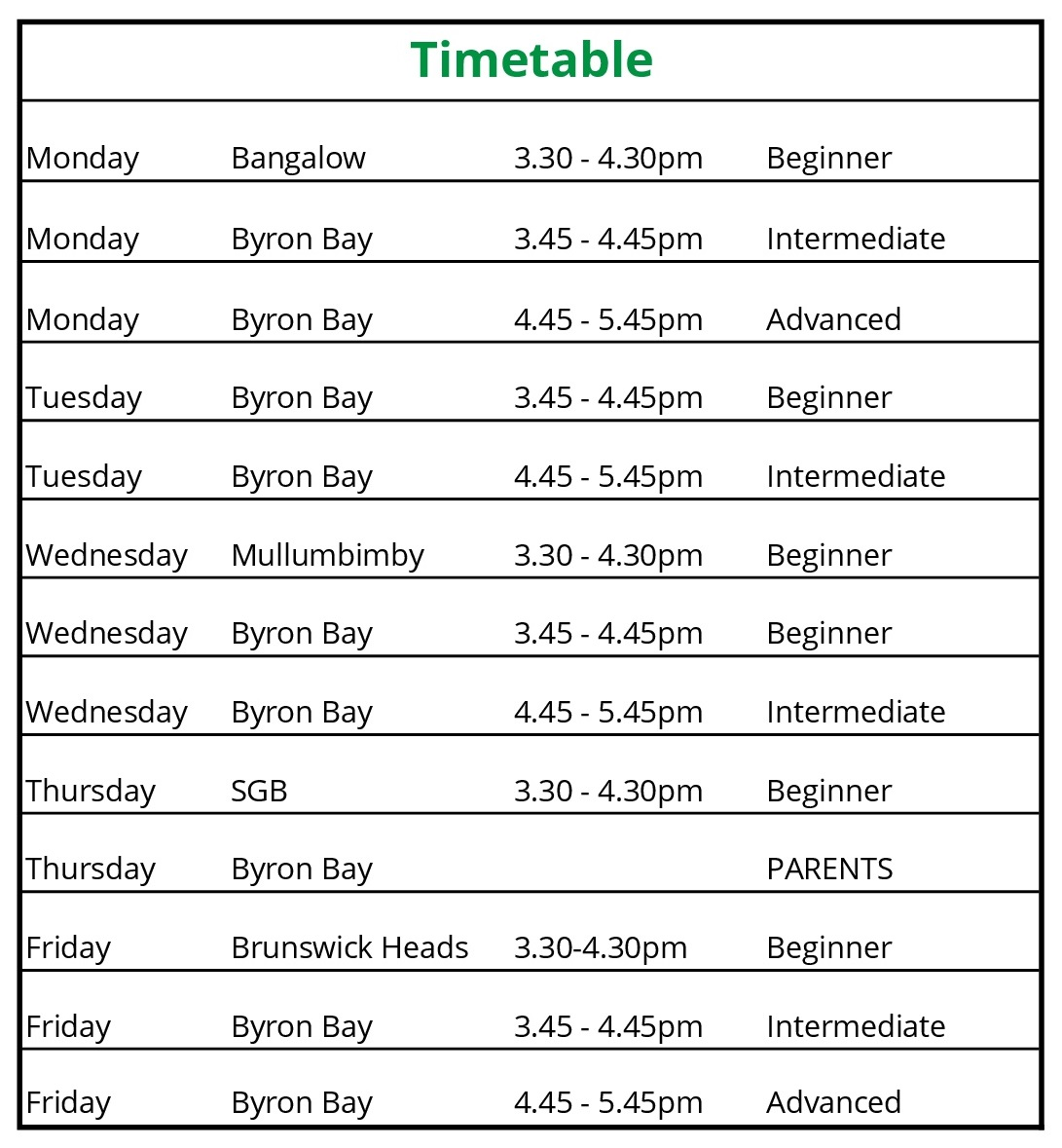 Byron Bay Skateboard School 2018 Timetable