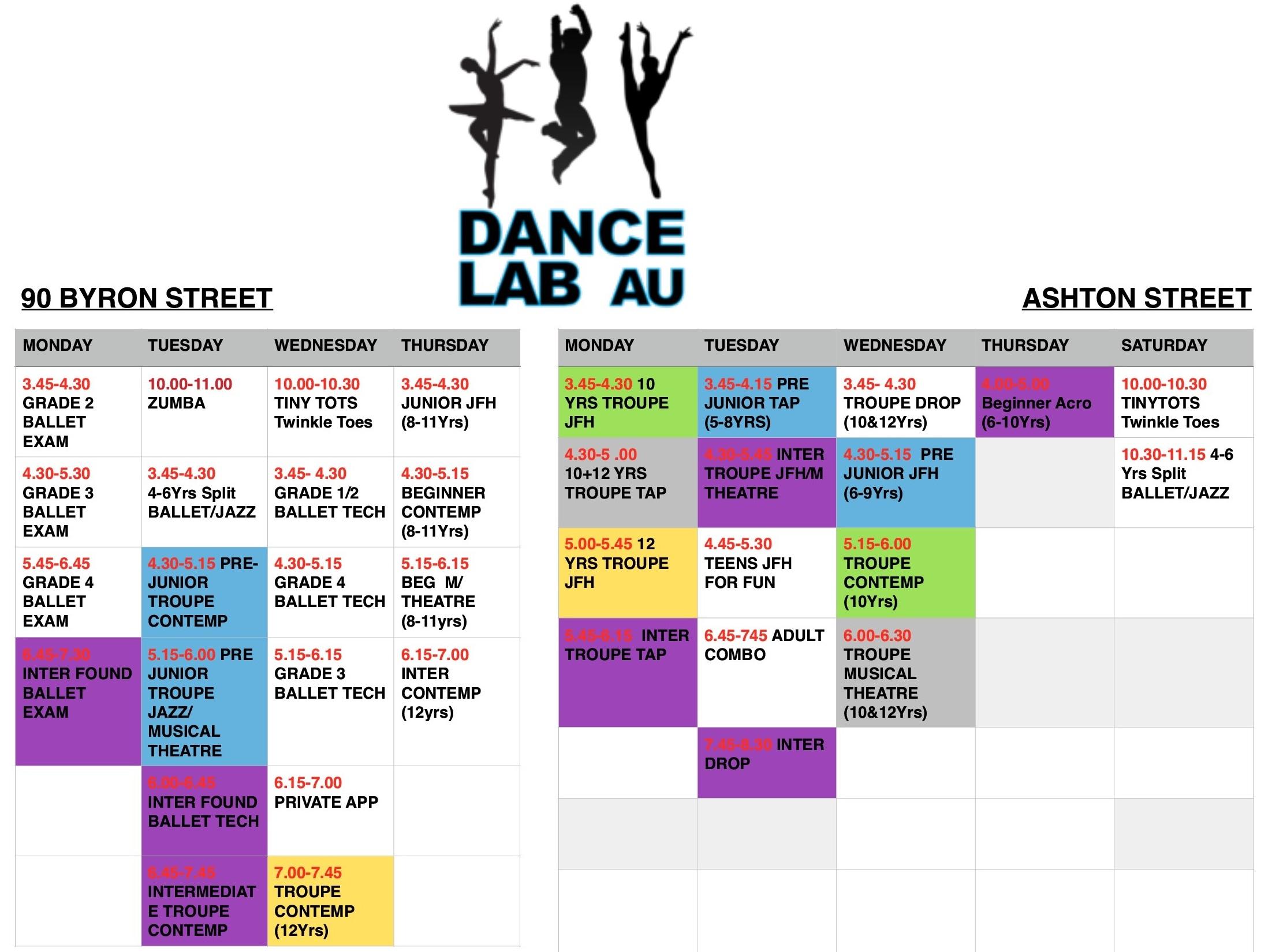 Dance Lab 2018 Term 1 Timetable