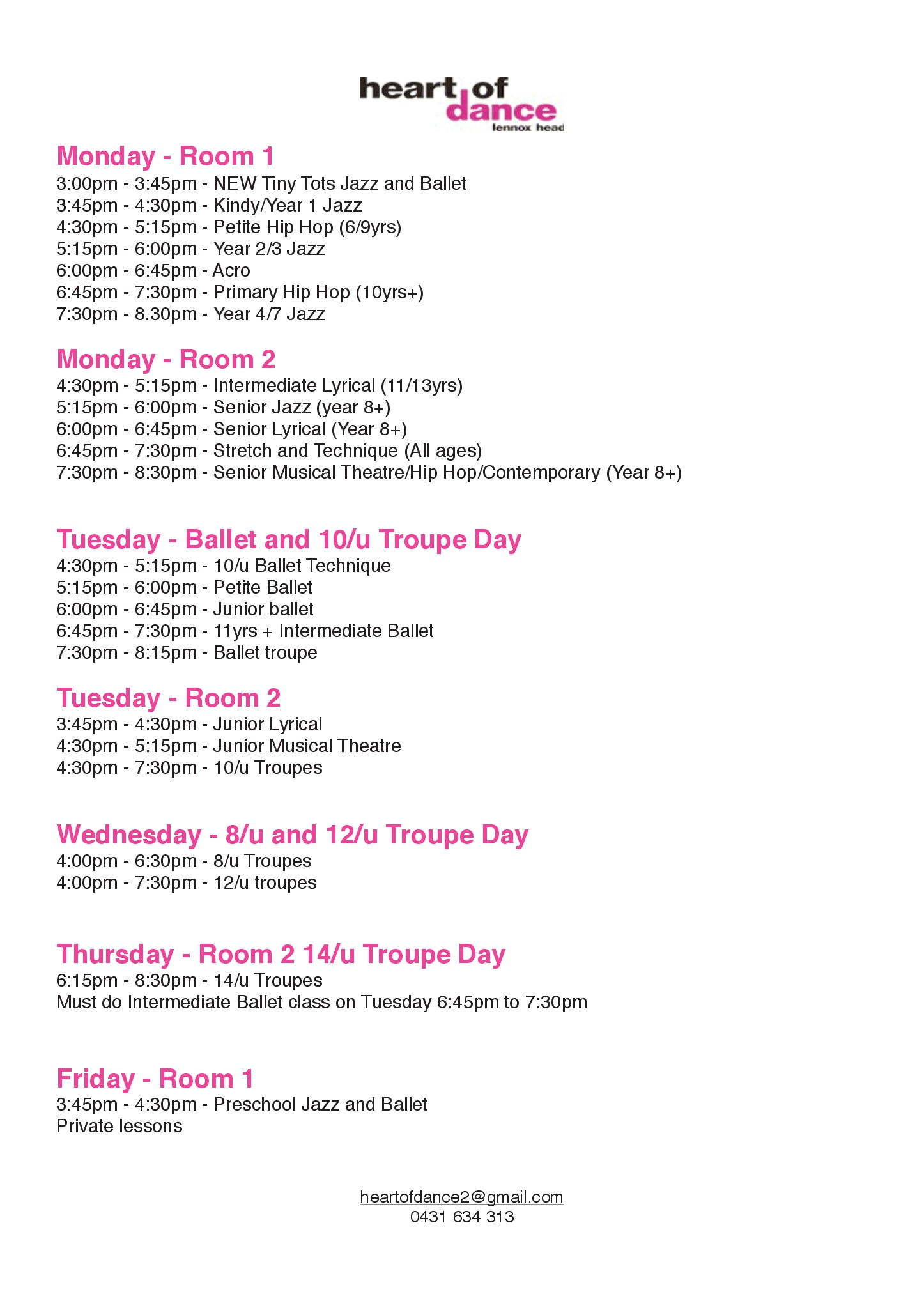 Heart of Dance 2018 Timetable
