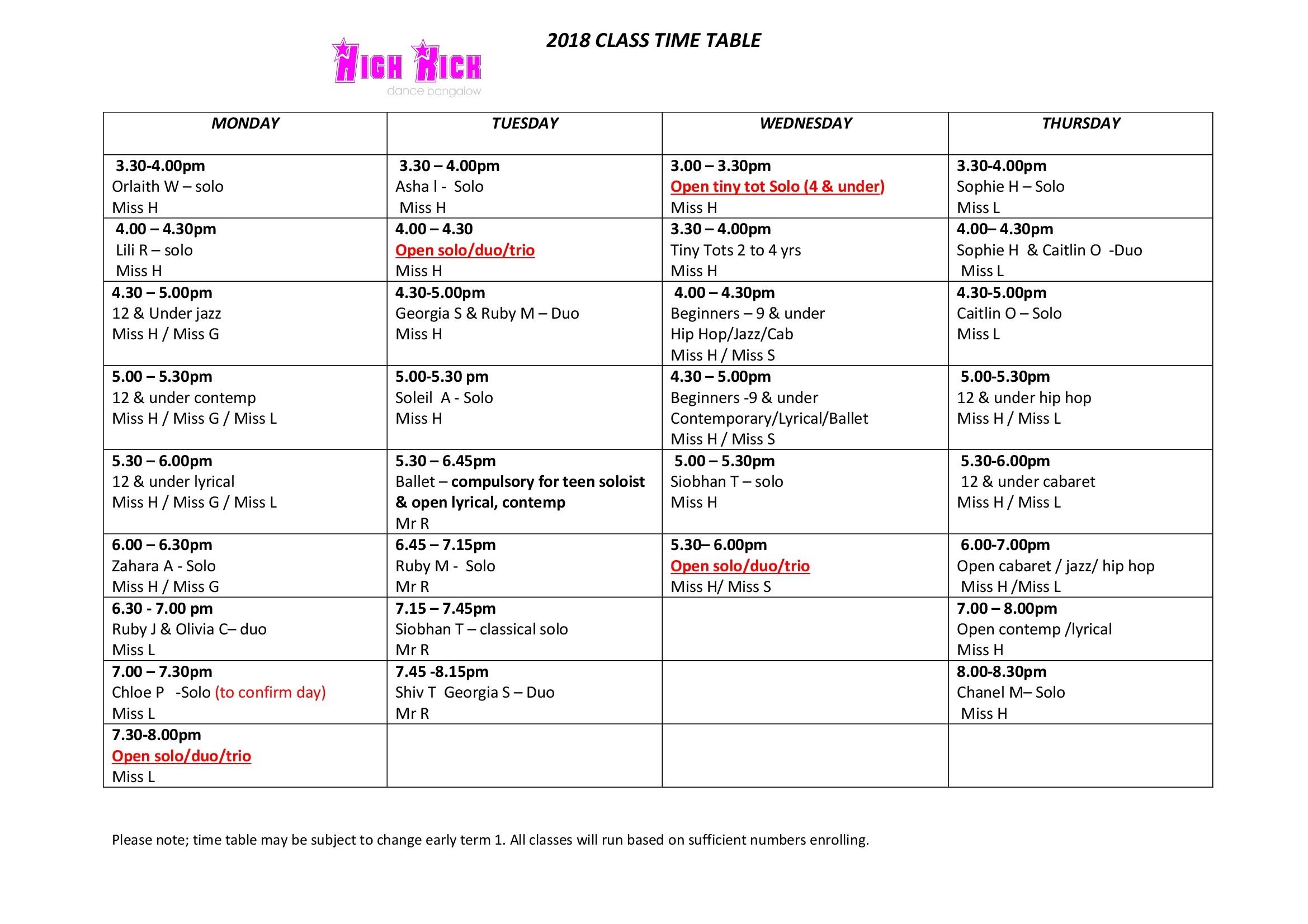 High Kick Bangalow Timetable 2018