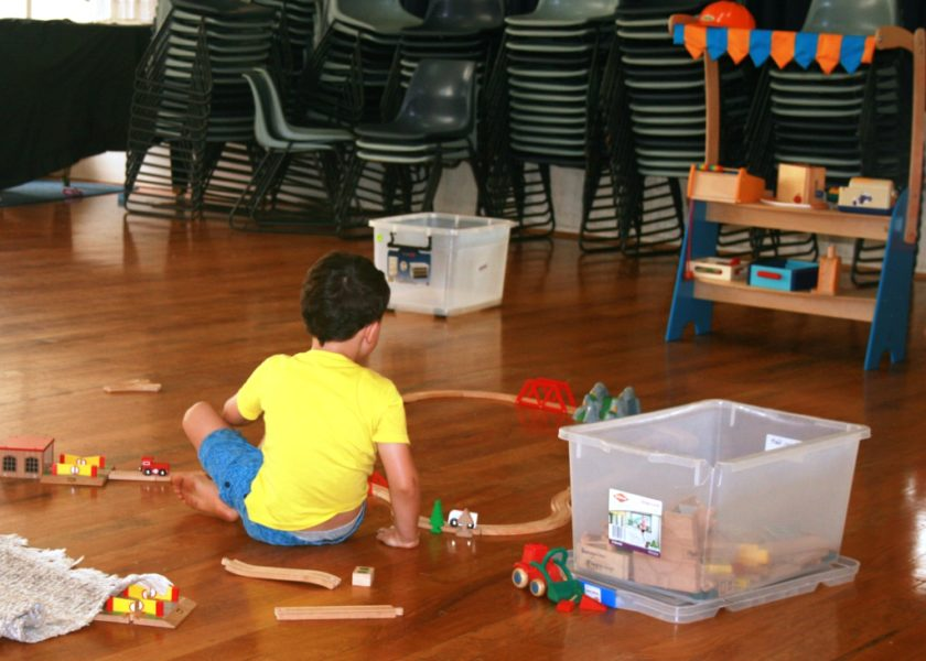 Bangalow Playgroup - inside play area - train set