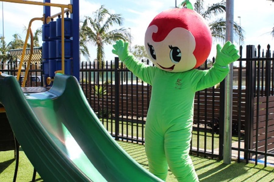 Cherry Street Sports - Little Cherry Mascot at playground