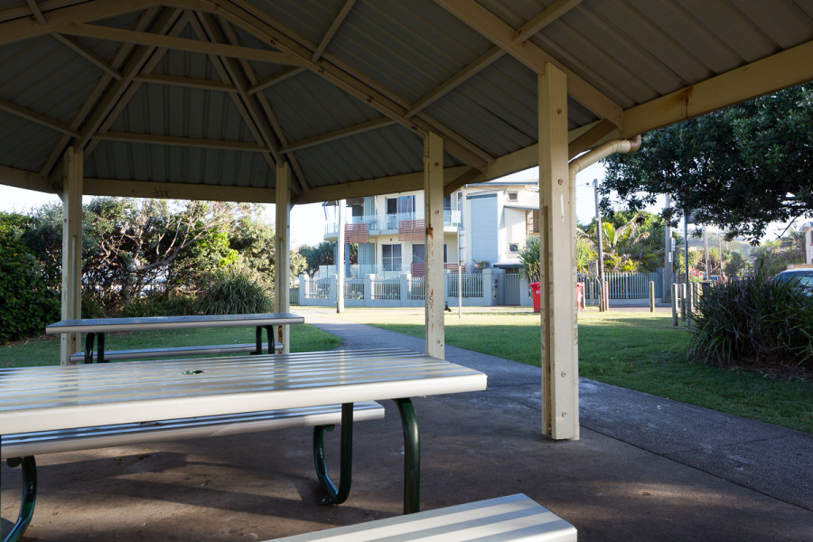undercover seating at Ross Park, Lennox Head