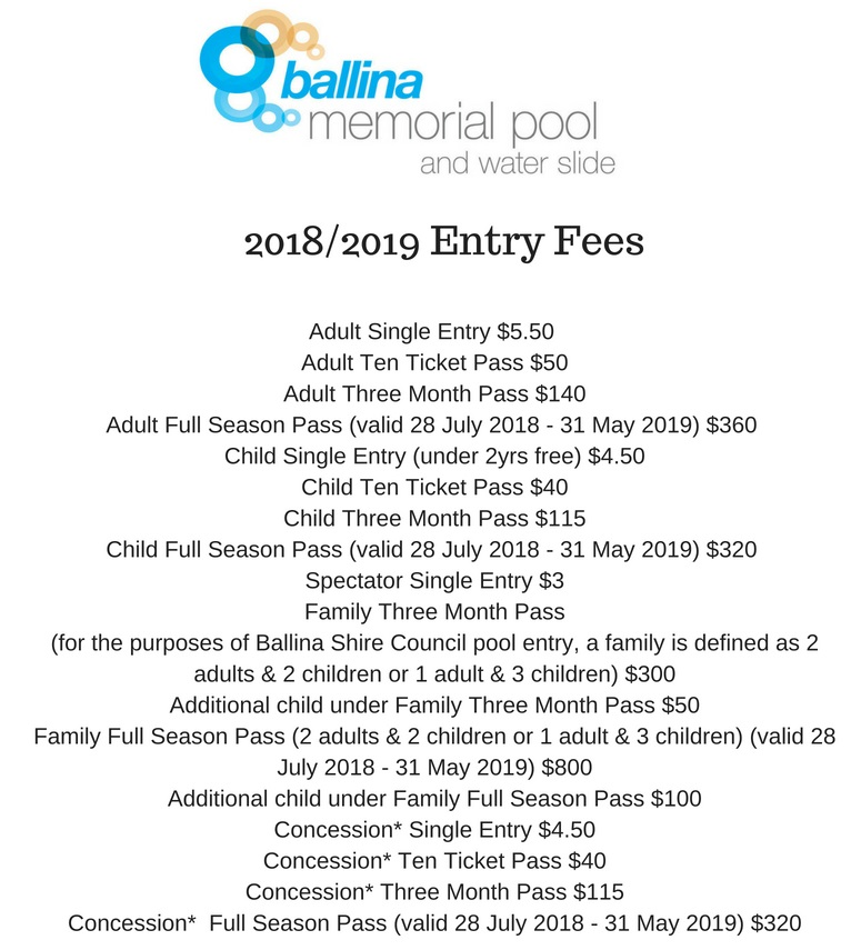 Ballina Pool 2018-19 Entry Fees