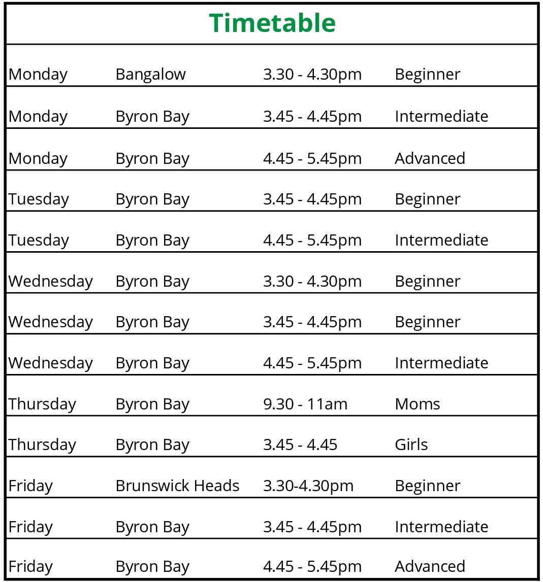 Byron Bay Skateboard School Term 3 Timetable 2018