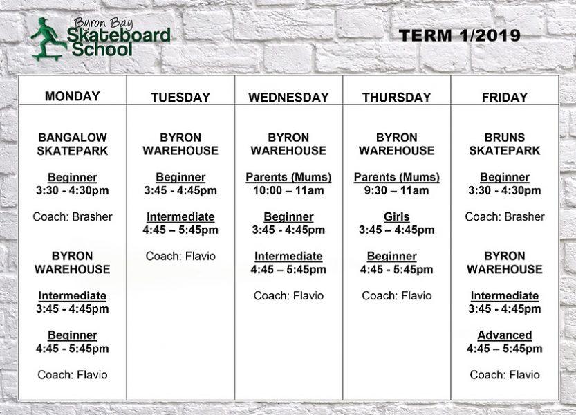 Byron Bay Skateboard School Term 1 2019 Timetable