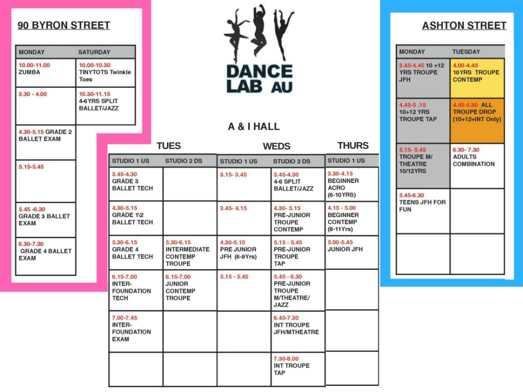 Dance Lab Australia - Term 3 2018 Timetable