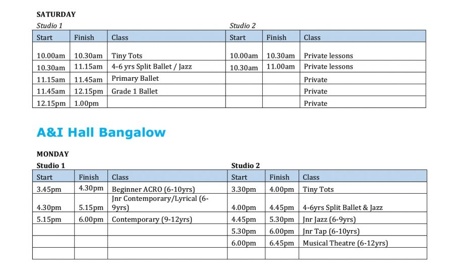 Dance Lab Australia 2019 Timetable pg2
