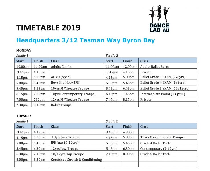Dance Lab 2019 Timetable Pg1