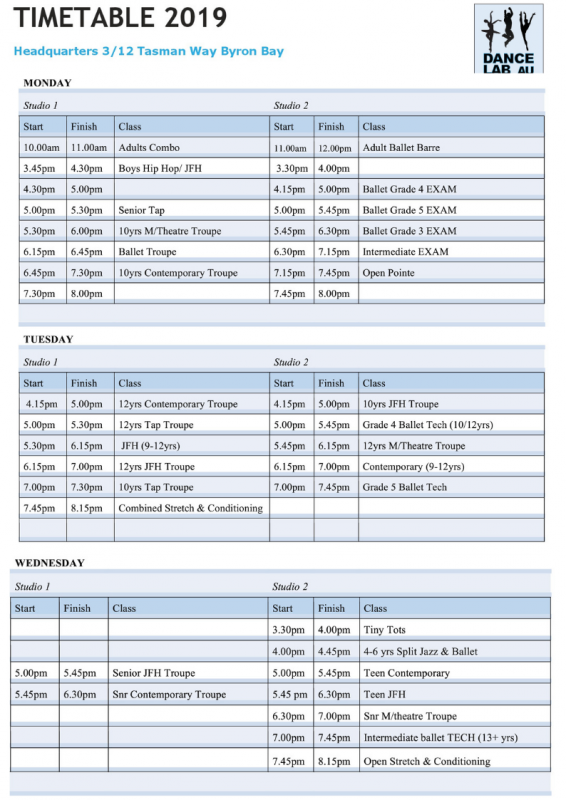 Dance Lab Term 1 Timetable 2019