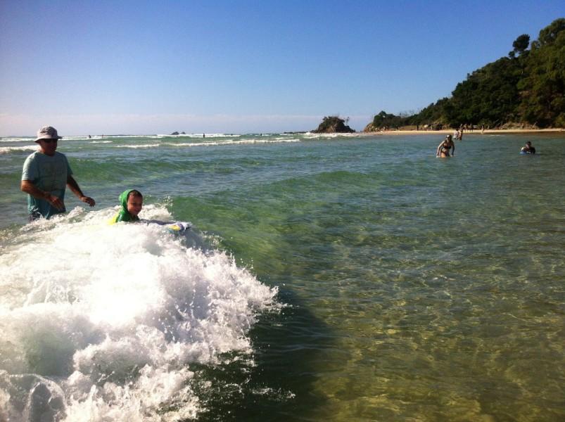 Clarkes Beach - in the water