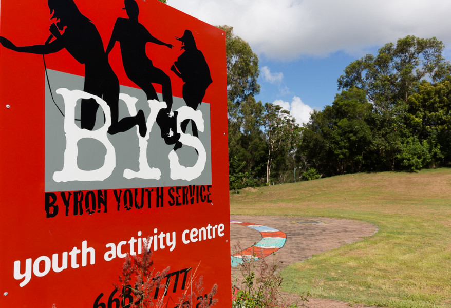 Byron Youth Service Signage at Byron Bay Skate Park