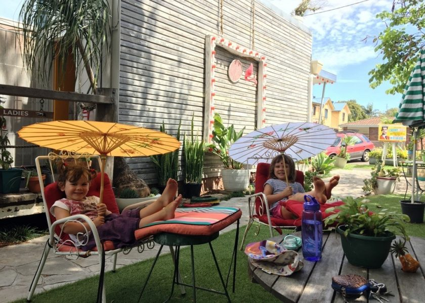 Kids relaxing in the garden at Brunswick Picture House