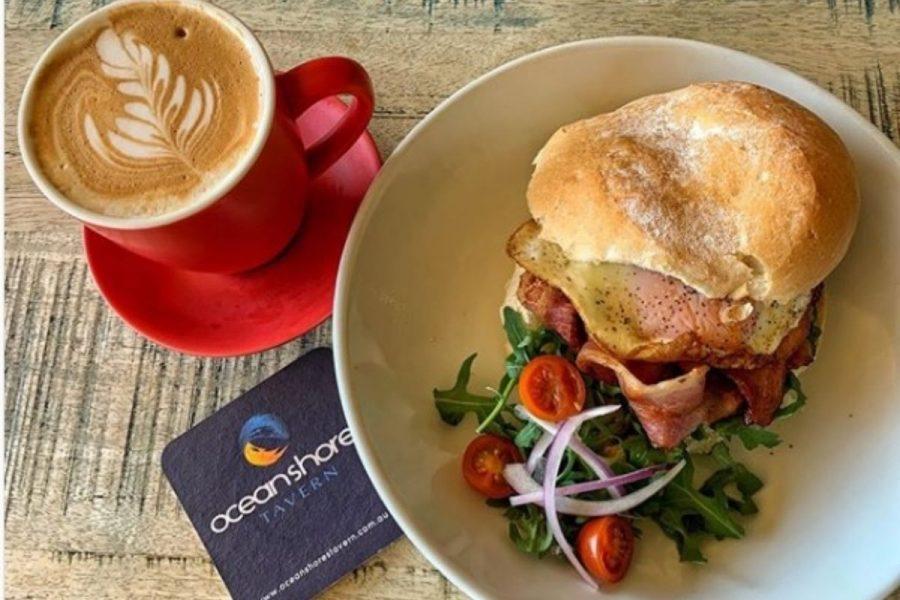 Ocean Shores Tavern Coffee & Bacon & Egg Roll