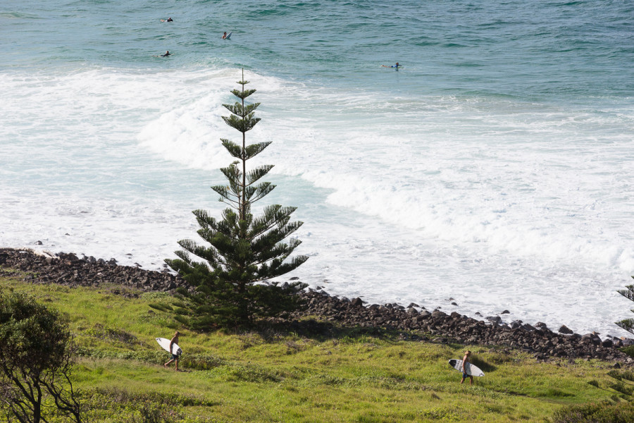 View of Surfers at The Point, Lennox Head