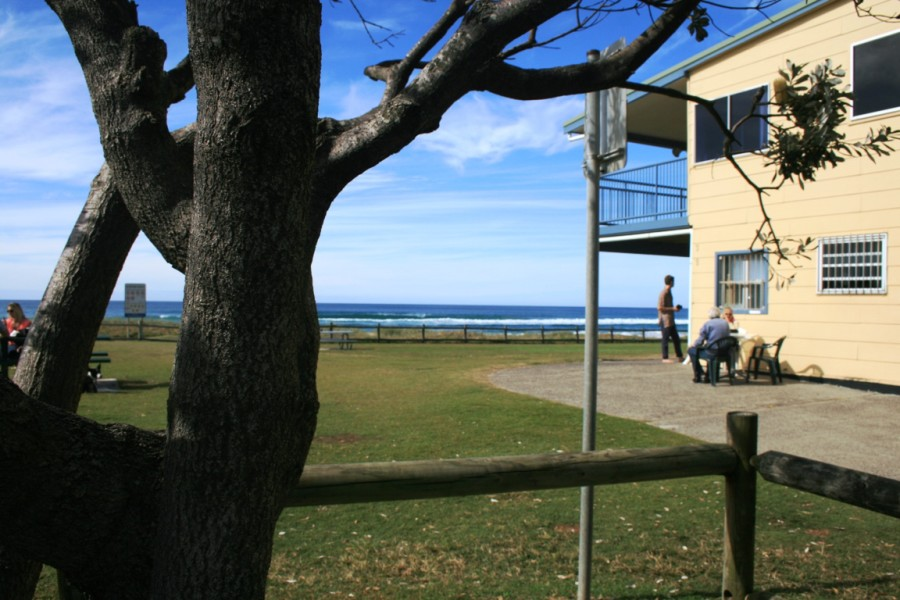 Lennox Head Beach - grassy parkland and seating near SLSC