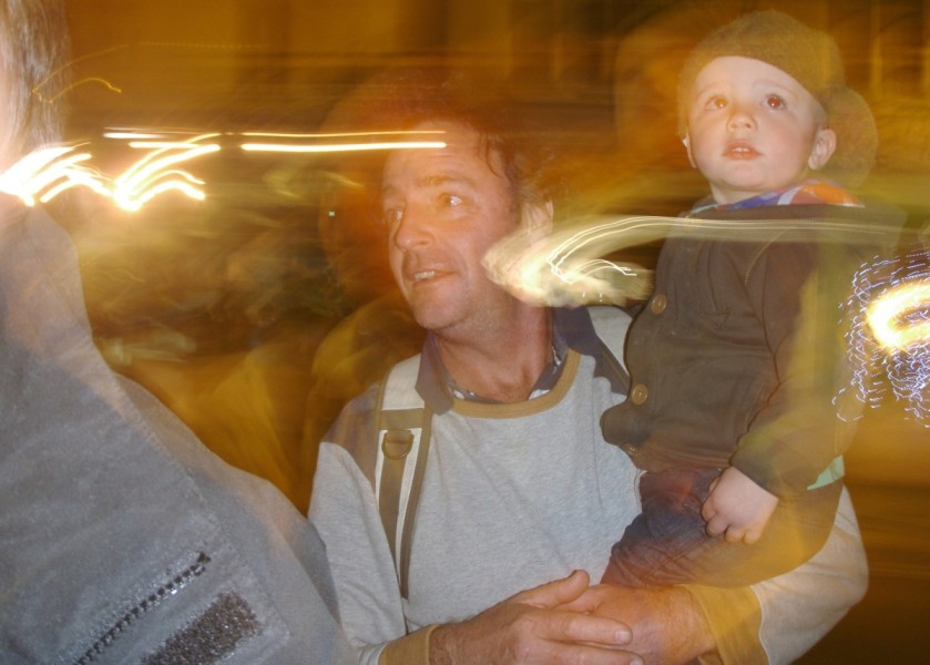 Father & son watching Lismore Lantern Parade